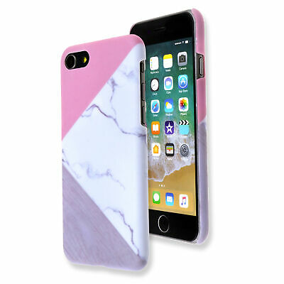 Granite Marble Contrast Color PC Hard Phone Cover Case for iPhone 6 - 8 Model