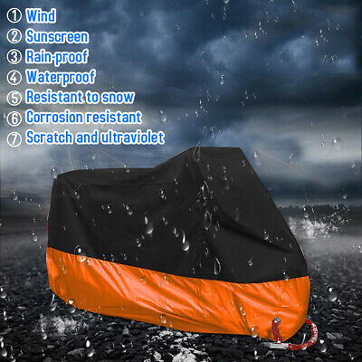 XXXXL Motorcycle Cover Waterproof Dust Rain Outdoor Protector with Lock Hole