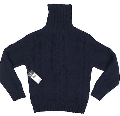 NEW $195 Polo Ralph Lauren Boys Sweater!  Wool & Cashmere  Heavy Cable Knit Navy