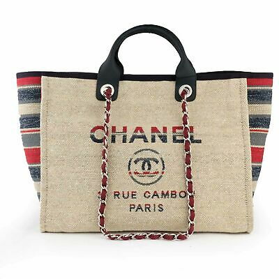 06c15d07d578 NEW CHANEL DEAUVILLE 2Way Printed Stripe Canvas Tote Bag Large 30 CM ...