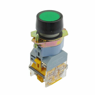 Momentary Green Button 220V LED Illuminated AC 660V 10A DPST Pushbutton Switch