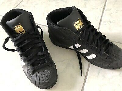 separation shoes 16f40 ada08 ADIDAS SUPERSTAR PRO Model High Top Black Leather Women's Size 8 US 6.5