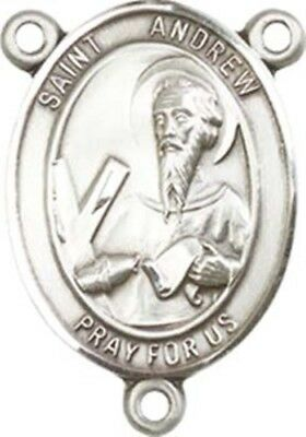 Sterling Silver Saint Andrew the Apostle Rosary Centerpiece Medal, 3/4 Inch