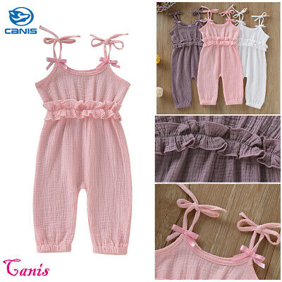 UK Sale Baby Girl Strap Jumpsuit Bodysuit Ruffled Playsuit Solid Cotton Outfits