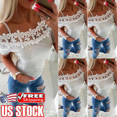 Women Short Sleeve T-Shirt Off Shoulder Lace Summer Casual Blouse Tops Shirts US