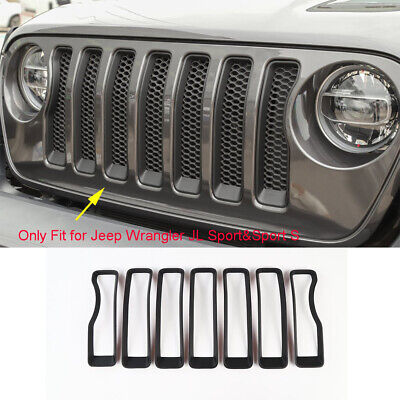 Front Grille Grill Insert Trims Cover Frame for Jeep Wrangler JL Matte Black 7pc