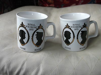 Pair Of Vintage Gilded Mugs Royal Wedding Anne & Mark 1973 Stafforshire