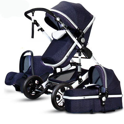 Luxury Baby Stroller 3 in 1 High view foldable pushchair bassinet Car Seat y2