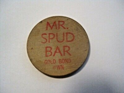 Vintage Mr. Spud Bar Beer Drink Rain Check Advertising Wooden Nickel Token