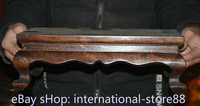 "14.4"" Old Chinese Dynasty Huanghuali Wood Inlay Shell Fish Table Desk furniture"