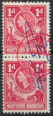 Northern Rhodesia 1955 Revenue 1d pair used *COMBINED SHIPPING*