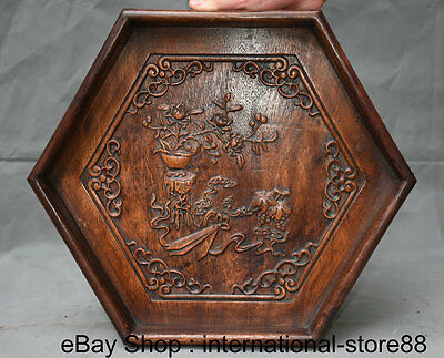 "14"" Old Chinese Huanghuali Wood Carving Palace Flower Hexagon Plate Tray Pallet"