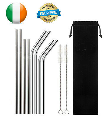 Reusable Straws Stainless Steel Metal Eco Drinking Straw + Brush bag 8 Pcs