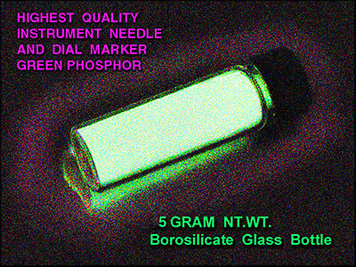 ULTRA-GREEN Phosphor 5 gms. in Borosilicate Vial - Long Glowing/UV Sensitive