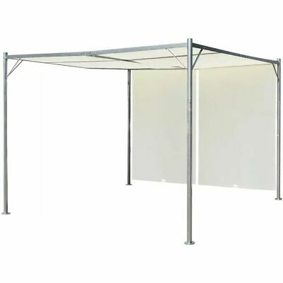 vidaXL Pergola with Adjustable Roof Cream White Steel 3x3m Canopy Carport