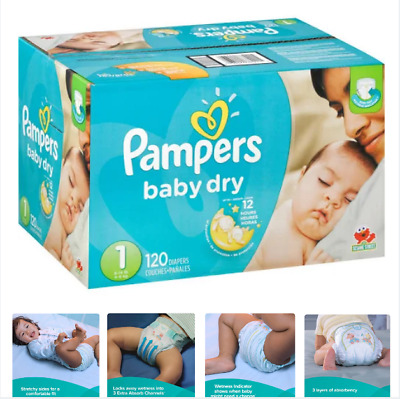 Pampers Baby Dry Diapers, Size 1 (8 - 14 lbs), 120 Count, Up 12 Hours Protection