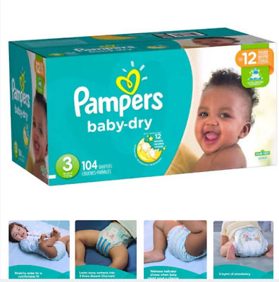 Pampers Baby Dry Diapers, Size 3 (16 - 28 lbs), 104 Count,Up 12 Hours Protection
