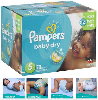 Pampers Baby Dry Diapers, Size 5 (Over 27 lbs), 78 Count, Up 12 Hours Protection