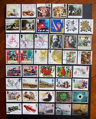 GB Selection of 43 used HIGHER VALUE COMMEMORATIVES stamps off paper 1989-2004