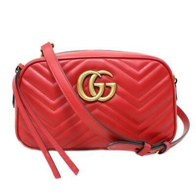 677a6f21e44 GUCCI GG Marmont Quilted Small Shoulder bag 447632 leather Red NEW Double G