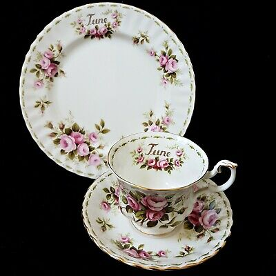 """Royal Albert Flower Of The Month """"June Roses"""" Trio tea set  with 8"""" plate"""