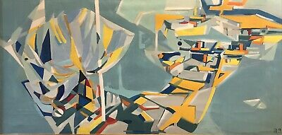 BERNARD HERZOG (1935) HUGE FRENCH ABSTRACT EXPRESSIONIST OIL PAINTING c. 1969