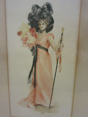 "Antique Framed original watercolor painting Victorian Lady Signed ""F. Van D""?"