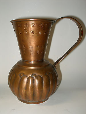 Vintage Arts & Crafts Hammered Design Solid Copper Pitcher #11 Rj