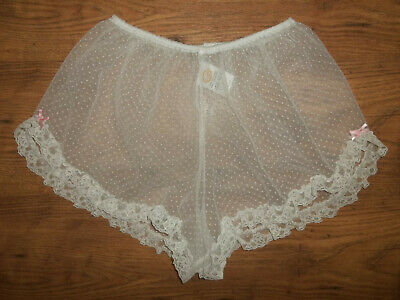 Vtg 1980s Eurobella Ultra Sheer Nylon Frilly Lacy Tap Panty French Knickers M