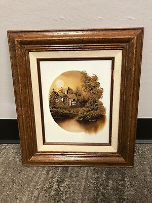 "NATHAN Signed COA Framed Oil Painting on Canvas Mill  Scene 10"" x 8"""