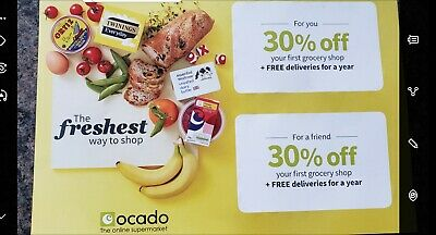 Ocado 30% off voucher +  no cost for deliveries for a year +  also for a friend
