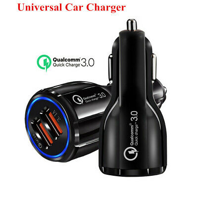Universal Car Charger 2 Ports Dual USB Quick Charge 3.0 Fast Charging Adapter