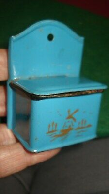 Antique/vintage,blue tinplate salt box,windmill motif for old doll house kitchen