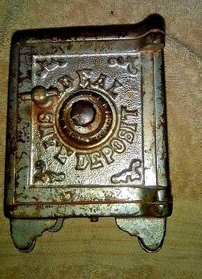 Antique Cast Iron Bank.  Ideal Safe Deposit.  Facsimilie of Real Safe.