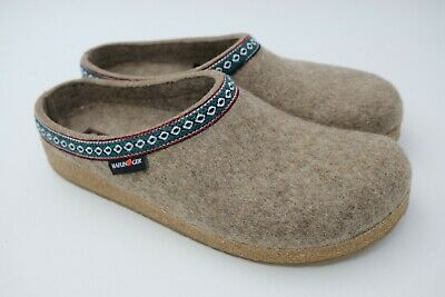 c357349144f Haflinger Classic Wool Grizzly Clog Leather Trim Unisex Earth Size EU 46  Used