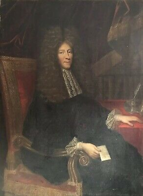 Enormous 17Th Century French Old Master Portrait Nobleman With Letters & Books