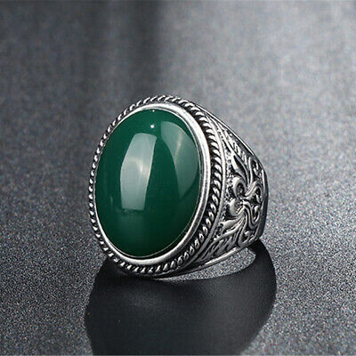 Ring For Women Men Oval White Natural Stone Gothic Jewelry Vintage Gifts S