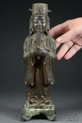 Chinese Bronze Standing Figure of Court Official w/ Gui Scepter, Ming Dynasty