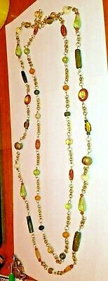 """Vintage Green Amber cream brown Art Glass double strand 40"""" long Necklace"""