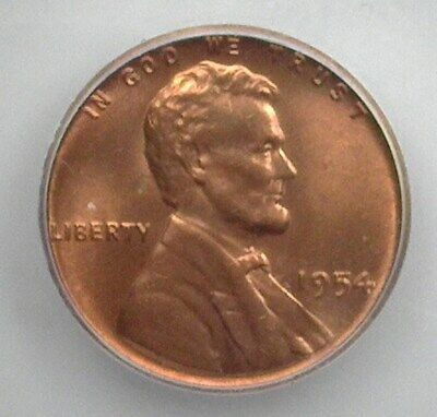 1954 Lincoln Wheat Cent   Icg Ms66+ Red Lists At $850!!