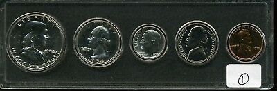 1954 1C - 50C U.S. Mint Silver Proof Set in Clear Plastic Holder - #1