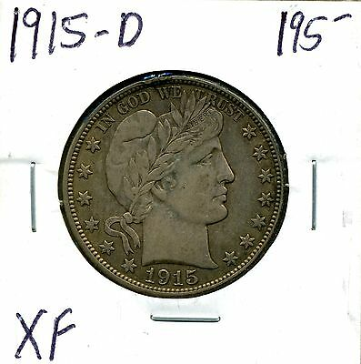 1915-D 50C Barber Silver Half Dollar in XF Condition