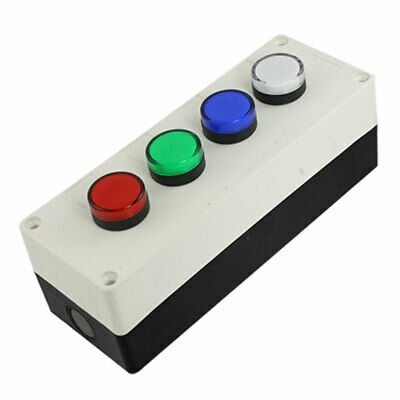 AC 110V Red Green Blue White Round Flat Indicator Light Push Button Switch