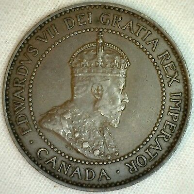1909 Copper Canadian Large Cent Coin 1-Cent Canada AU K10