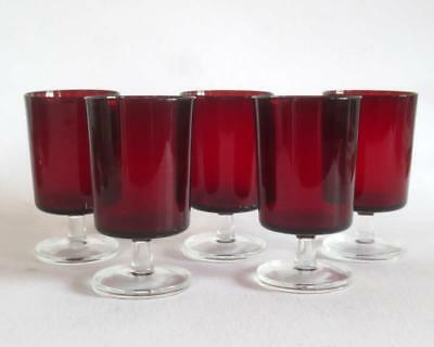 5 Vintage Crystal D'Argues Durand Cavalier Ruby Red Luminarc 5 1/8 Water Goblets