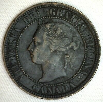1896 Copper Canadian Large Cent One Cent Coin Fine  #2