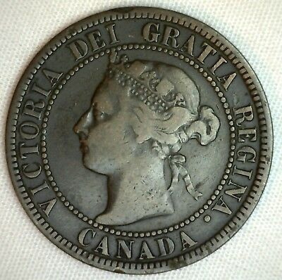 1896 Copper Canadian Large Cent One Cent Coin Fine 15  #4