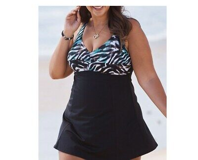 65a3c310ea9 plus size swimsuits for all print bodice empire swimdress swimsuit 26  animal o5