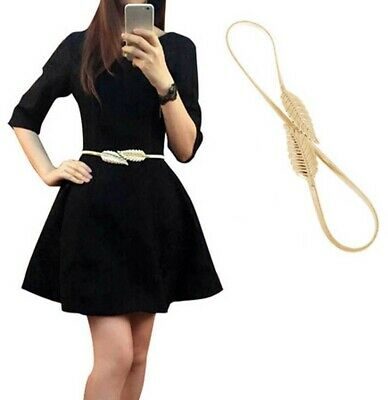 Women Belt Gold LEAF Elastic Metal Stretch High Waist Dress Cummerbund