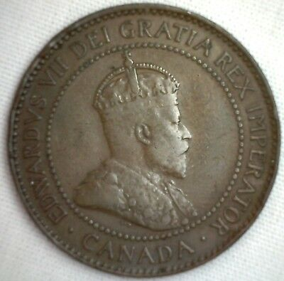 1907 H Copper Canadian Large Cent Coin 1-Cent Canada #7